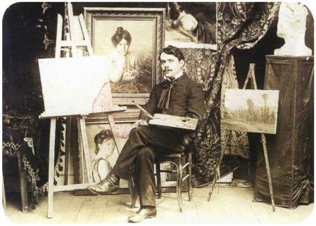Eloi-Noël Béraud dans son atelier de la rue Boulard à Paris. ( Ludovic Saulnier, Les Bouvard. De l'ombre à la lumière, p. 8.