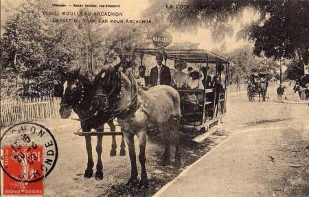 Le départ du tram-car du Moulleau
